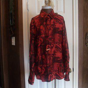 Gianni Versace Vintage Red/Black Silk Shirt